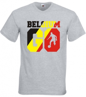 T-shirt V-neck -  Belgium GO - Ash Grey